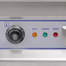 Zdjęcie panelu przedniego, regulacja temperatury, lampki kontrolne, GRILL ELEKTRYCZNY, ŻELIWNA PŁYTA GRILLOWA 50CM, wykonany ze stali nierdzewnej, dostępny w magnum-pro.pl